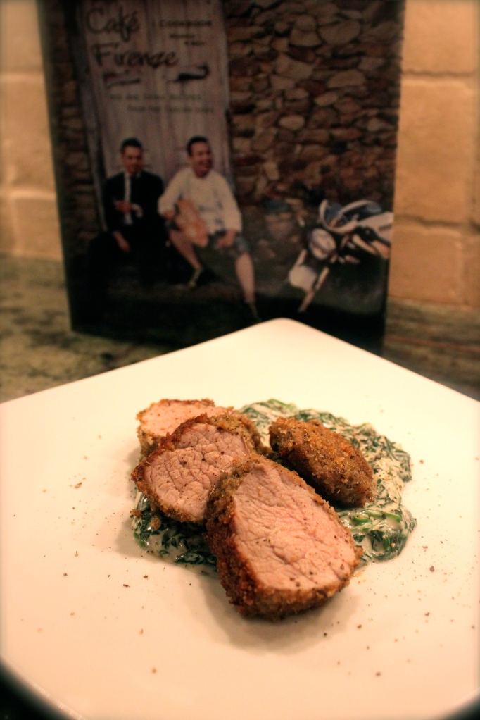 Chamomile encrusted pork tenderloin with creamed spinach