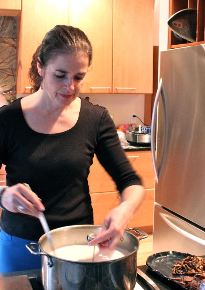 Linda making cheese