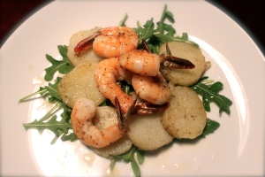 Vanilla Potatoes with tiger shrimp and lemon syrup