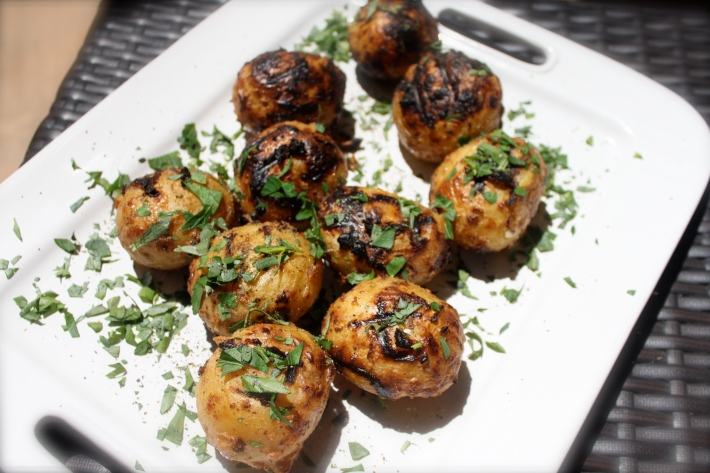 Plate of grilled potatoes