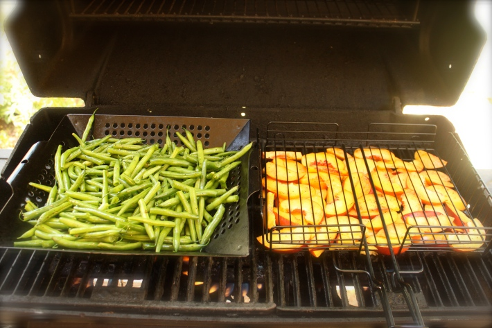 Beans & peaches on grill