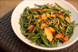 Bowl of green beans & peaches