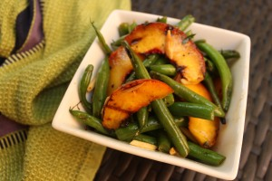 Grilled green beans & peaches