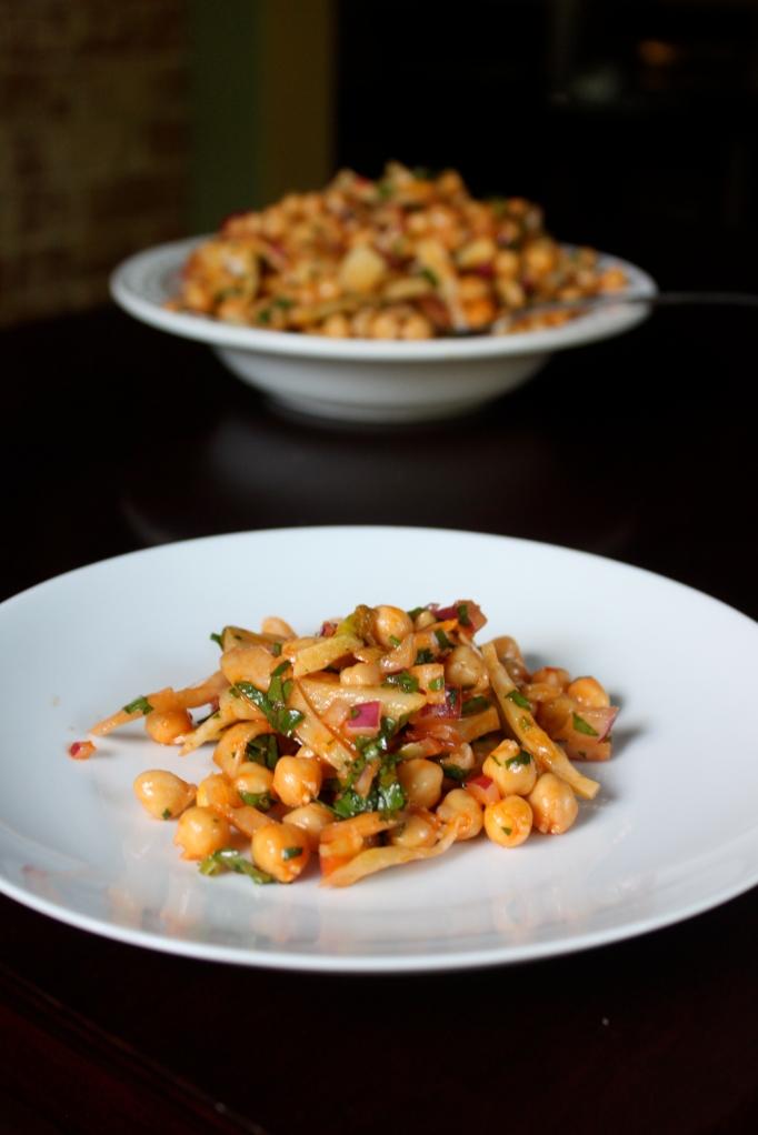 Plated garbanzo bean salad