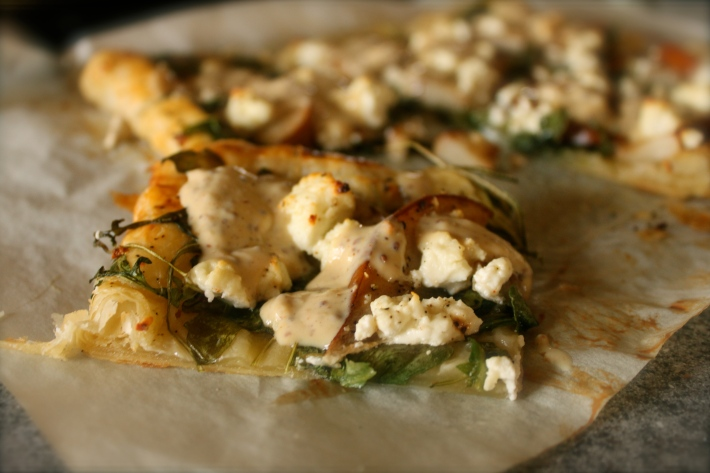 Spiced Pear Flatbreads With Goat Cheese And Mustard Cream Recipes ...