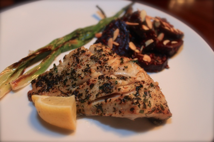 Broiled Black Cod with Scallions & Lemon