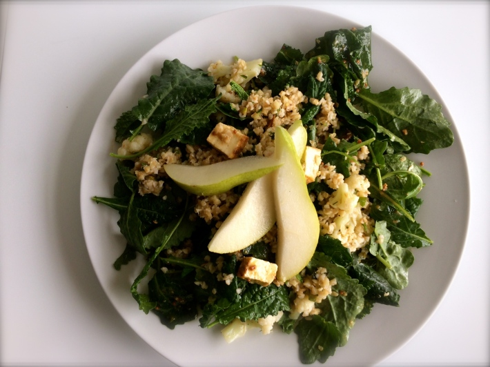 Bulgur , Tofu and Kale Salad