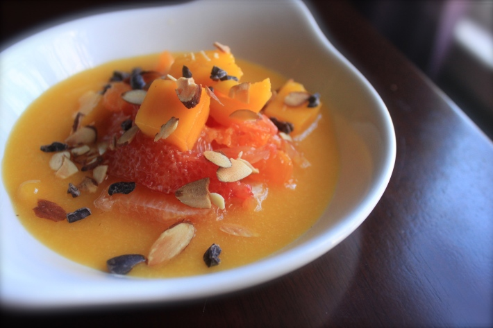 Citrus Salad on Mango Coulis with Cacao Nibs and Toasted Almonds