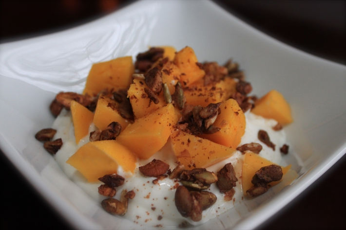 Greek Yogurt with Spiced Pepita and Cashew Crunch and Mango