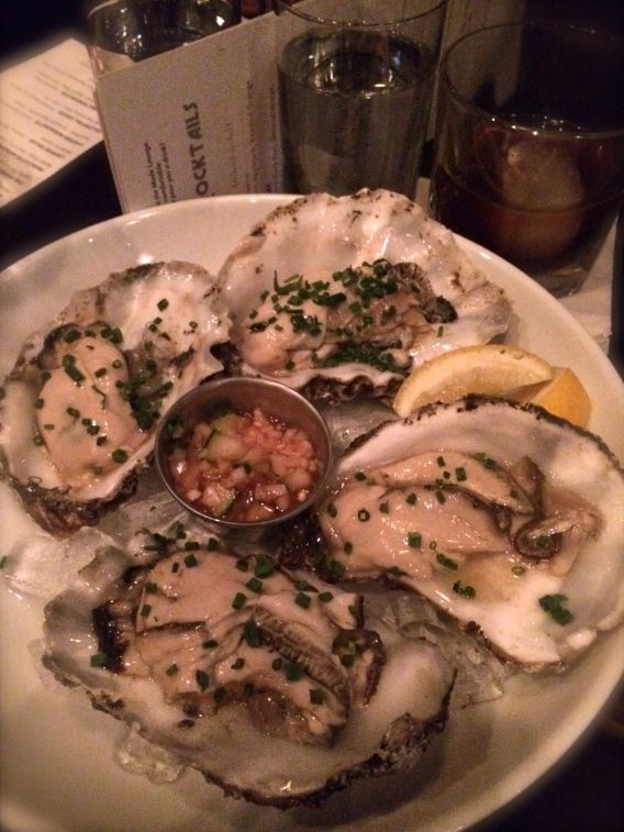 Oysters mignonette at the Mode Lounge