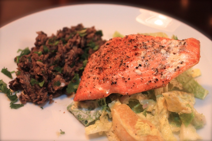 Pan-Roasted Salmon with Grapefruit-Cabbage Slaw
