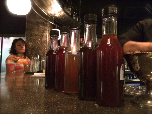 Tinctures on the bar at the Mode Lounge