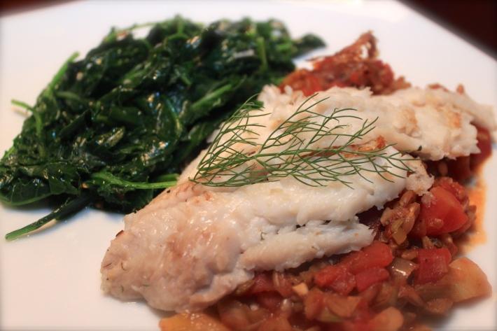 Tomato Farroto with Dover Sole