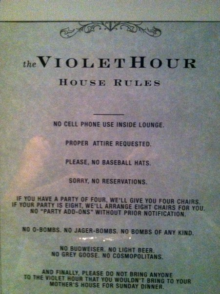 Violet Hour Rules